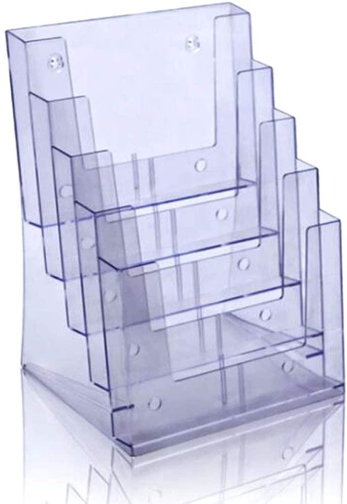 A4 Vertical 5 Layers Leaflet Display Rack tri-fold Desktop brochure Color Page Rack(K-452)