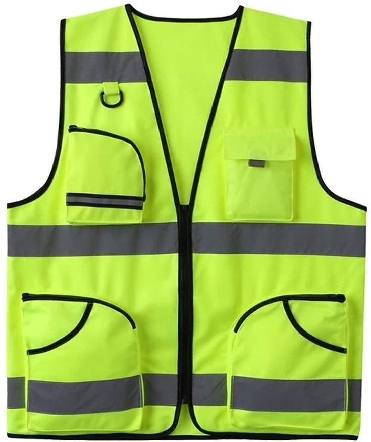 Safety Vest Reflective Cardigan Vest, Reflective Safety Vest Night Travel Safety Unisex Multi-Pocket Overalls Fluorescent Yellow High Visibility Vest Child Safety Vest