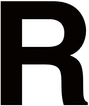 Merriway BH04051 Black Vinyl Stick On Wheelie Bin Post Box Crate Dust Bin Letters 75mm (3 inch) Letter R - Pack of 4
