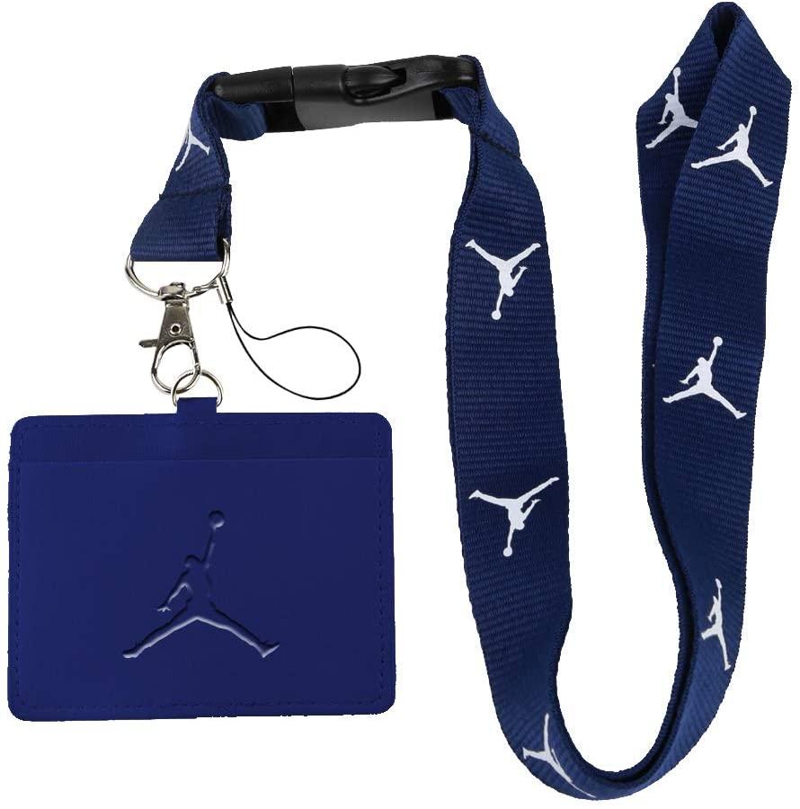 Jordan Dark Blue Faux Leather Business ID Badge Card Holder with Keychain Lanyard