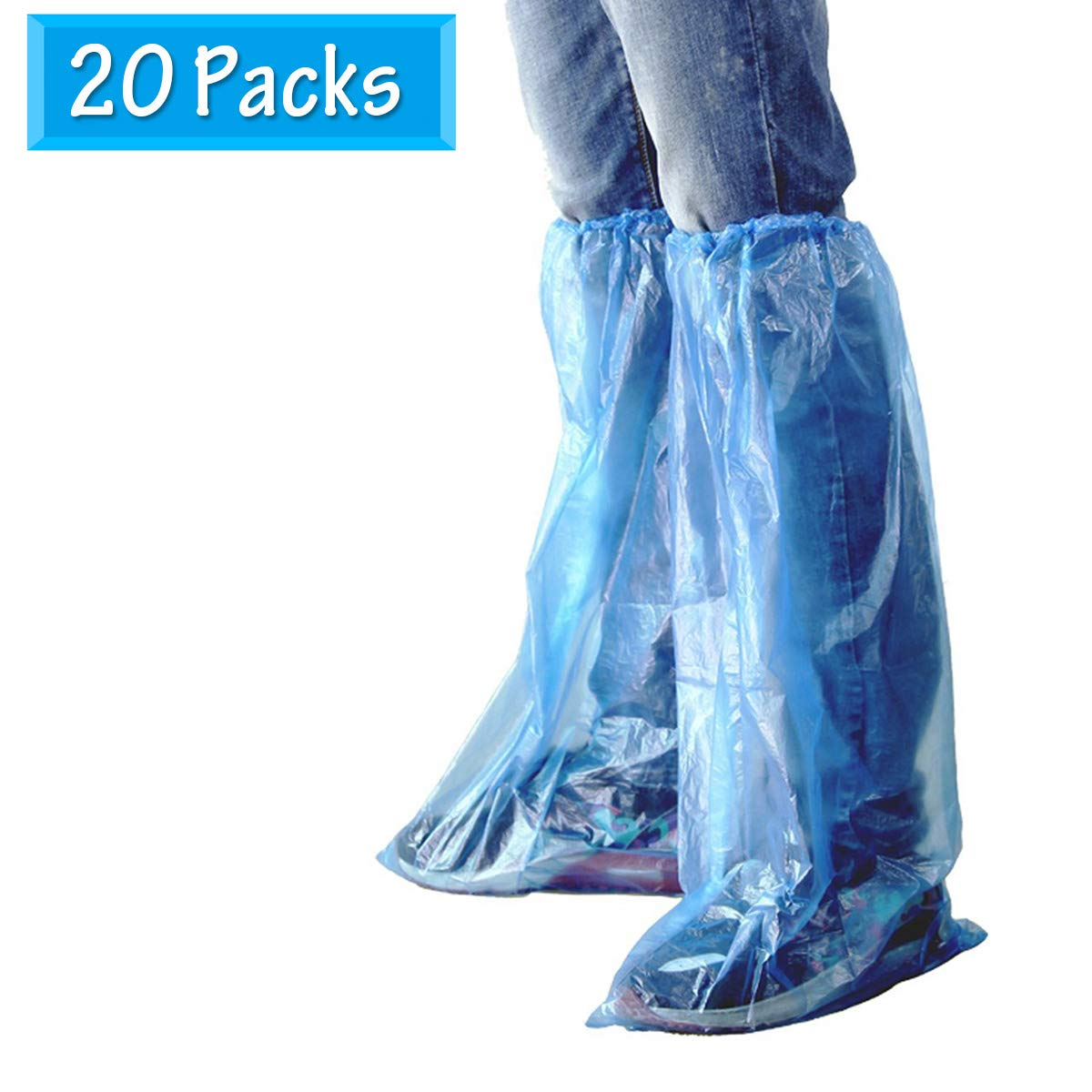 HUABEI Disposable Shoe Covers 40 Pieces (20 Pairs) Blue Rain Shoes and Boots Cover Plastic Long Shoe Cover Clear Waterproof Anti-Slip Overshoe for Women Men Water Boots Cover (40Pack(20Pairs))