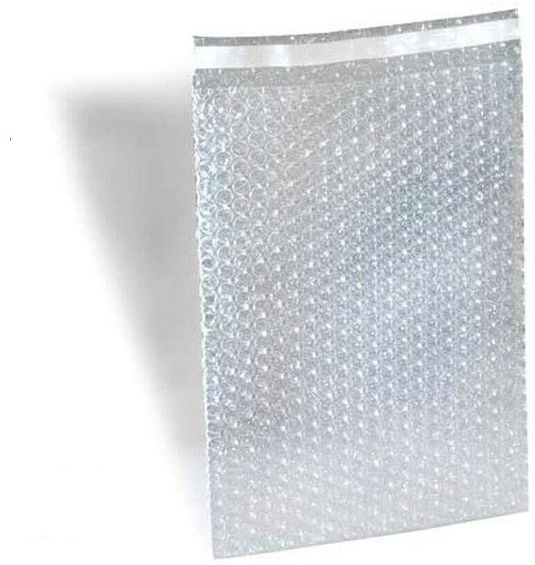 12x15.5 Bubble Pouches Shipping Mailers, 12 x 15.5 inch, Peel & Seal, Clear, Bubble Out, 200 Pack