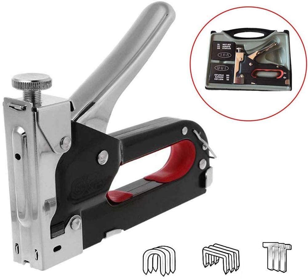 LZiioo Heavy Duty 3-in-1 Staple Gun, Hand Operated Carbon Steel Brad Nail Gun, Tacker Tool for Carpentry Furniture, Doors and Windows, Billboards