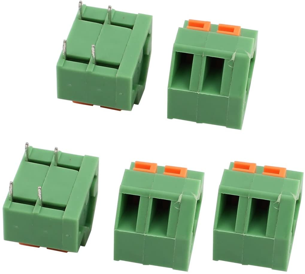 Aexit 5pcs KF237 Terminal Blocks 300V 10A 5.08mm Pitch 2P Spring Terminal Block for Actuator Blocks PCB Mounting
