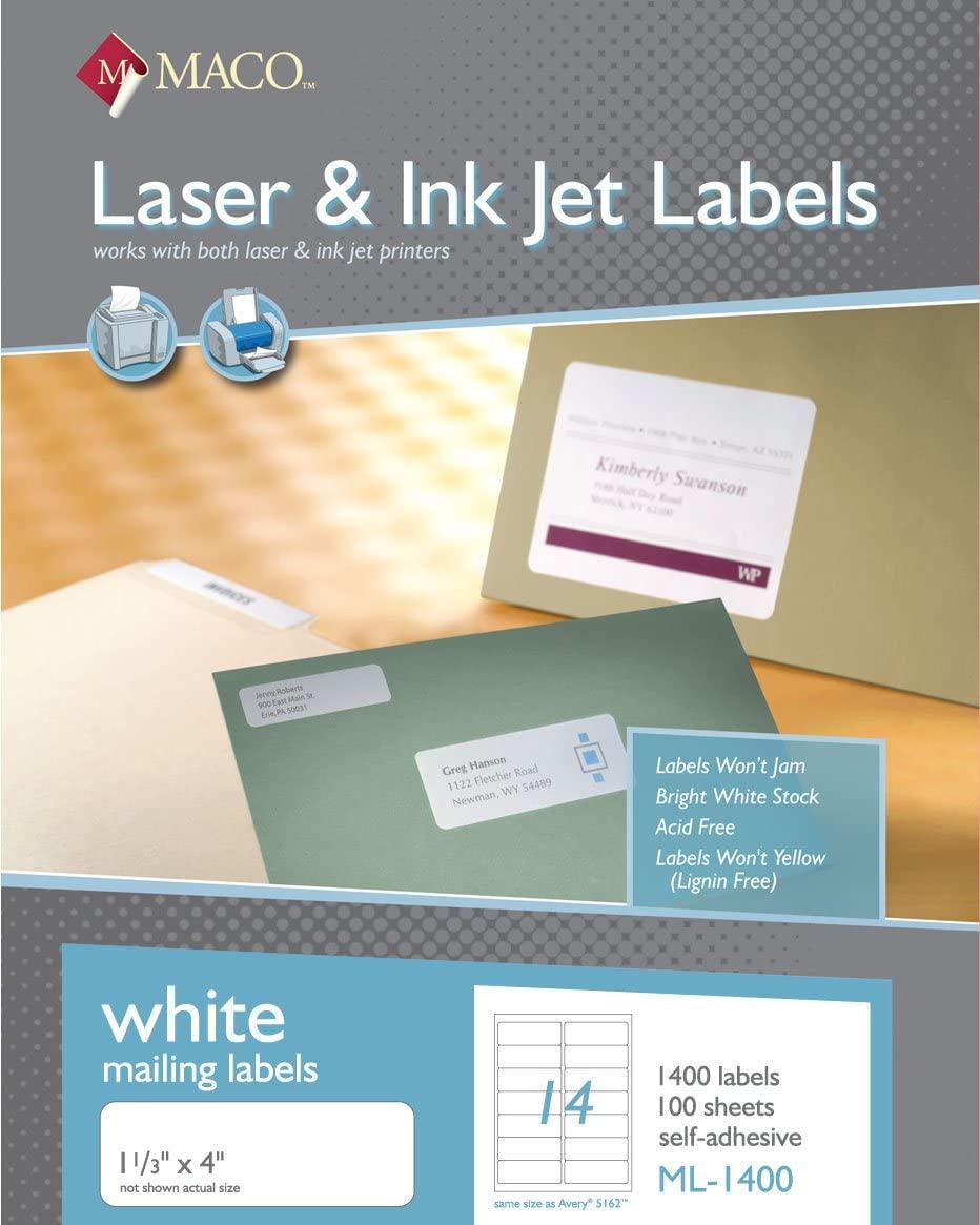 MACO Laser/Ink Jet White Address Labels, 1-1/3 x 4 Inches, 14 Per Sheet, 1400 Per Box (ML-1400)