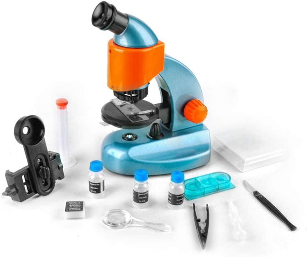 SOLOMARK Microscope for Kids and Beginners 20X-200X Magnification Microscope with a Microscope Smartphone Adapter for Photography