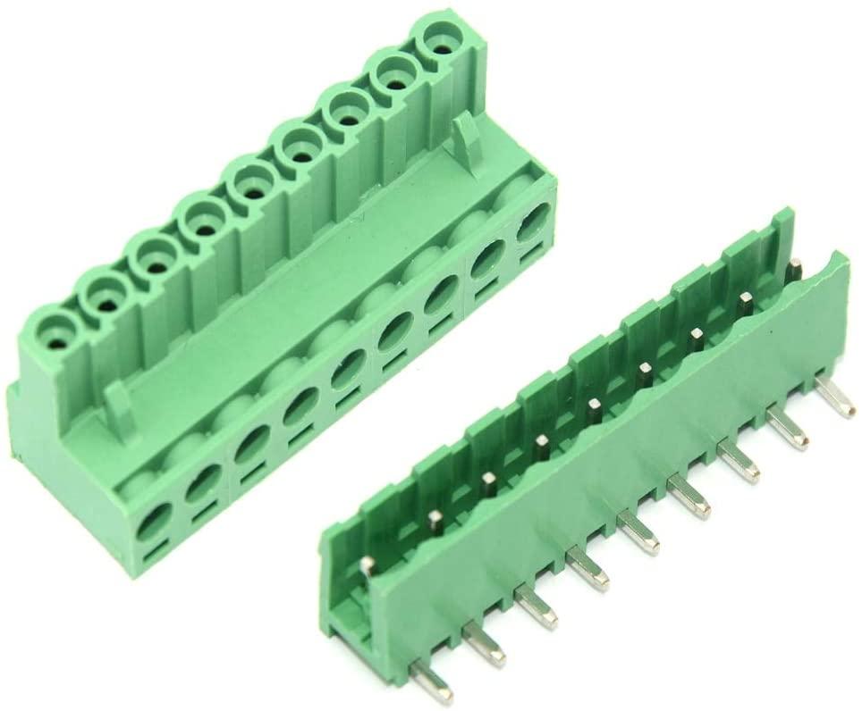 Davitu Terminals - 10 sets 2EDGK 9 Pin Right Angle Pin Plug-in Screw Terminal Block Connector 5.08MM 300V - (Pins: 9P)