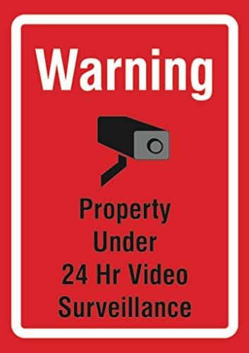 Warning Property Under 24 Hr Video Surveillance Warning Sign Metal 6 Pack, 12x18