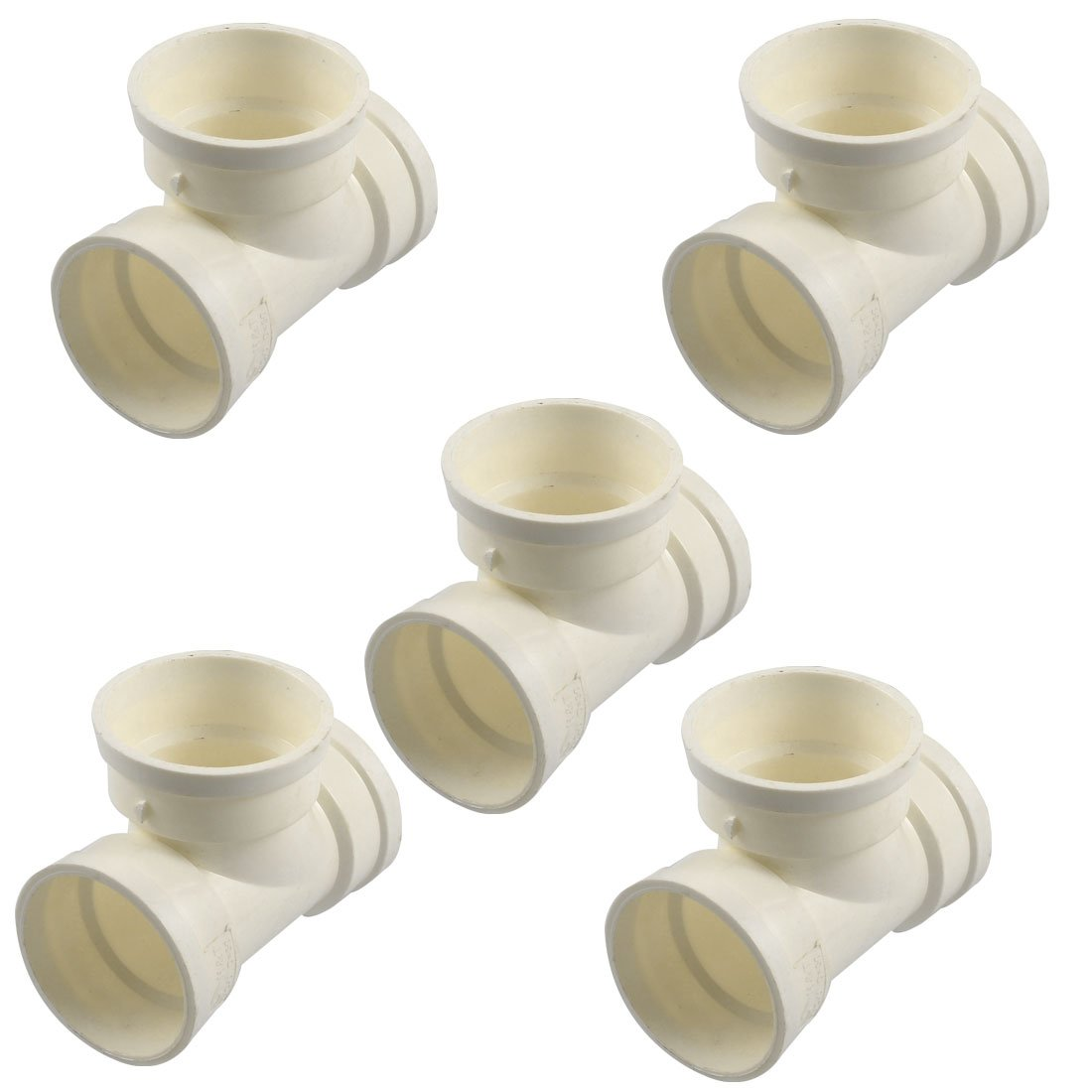 Uxcell a12111400ux0666-DM Tube Adapter Connectors, PVC Tee 3 Way Water Pipe, 50 mm Size (Pack of 5)