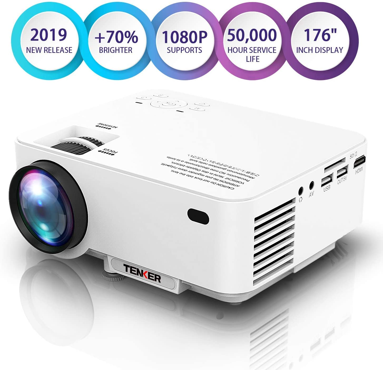 Min Home Projector 3000 Lux with 25000 Hours Lamp Life, 1-15 LED Portable Projector Support 1080P, Mini Projector Compatible with TV Stick, PS4