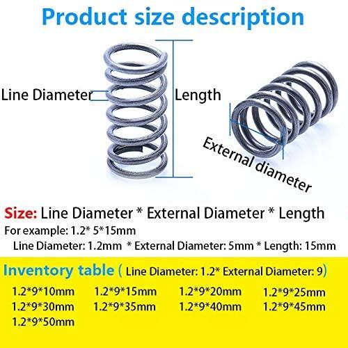 LF-Bolt, 10Pcs Compressed Spring Telescopic Spring Return Spring Line Diameter 1.2mm, External Diameter 9mm, Length 10mm-50mm (Size : 25mm(10Pcs))