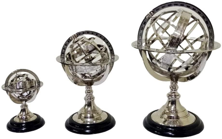 Vintage Brass Armillary Globe Nickel Plated Wooden Base Set of 3