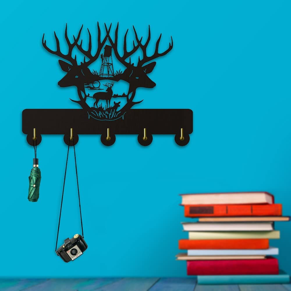 Observatory Hunter Hunting Design Wall Decor Wall Hooks Wild Animals Deer Wall Clothes Coat Towel Hooks Bathroom Decor Hanger
