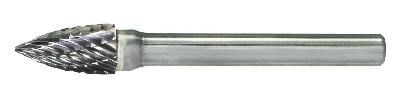 Drillco 7000G Series Magnum Solid Carbide Miniature Bur, Single Cut, Tree Pointed End, 3/32
