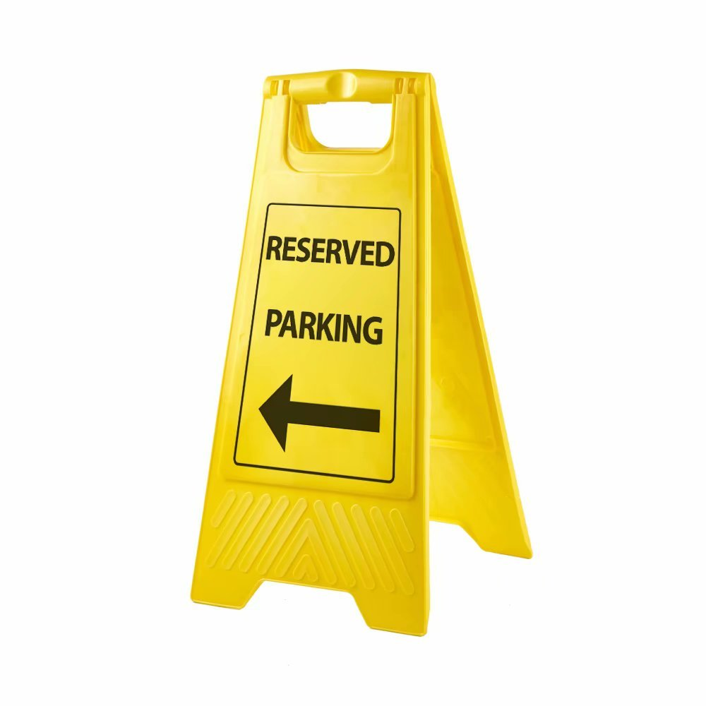 Lplpol 2-Sided Fold-Out Floor Safety Sign Reserved Parking Black Floor Warning Sign Plastic Sign, Yellow