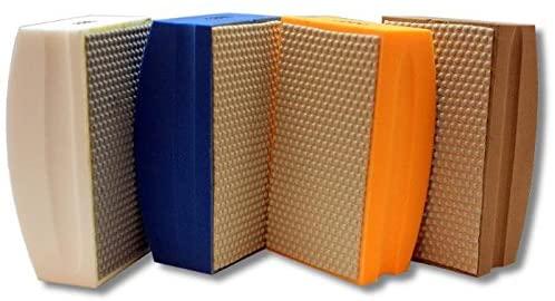 KENT 4 Premium Assorted FINE Grits Ergonomic Foam Back Diamond Hand Polishing Pads