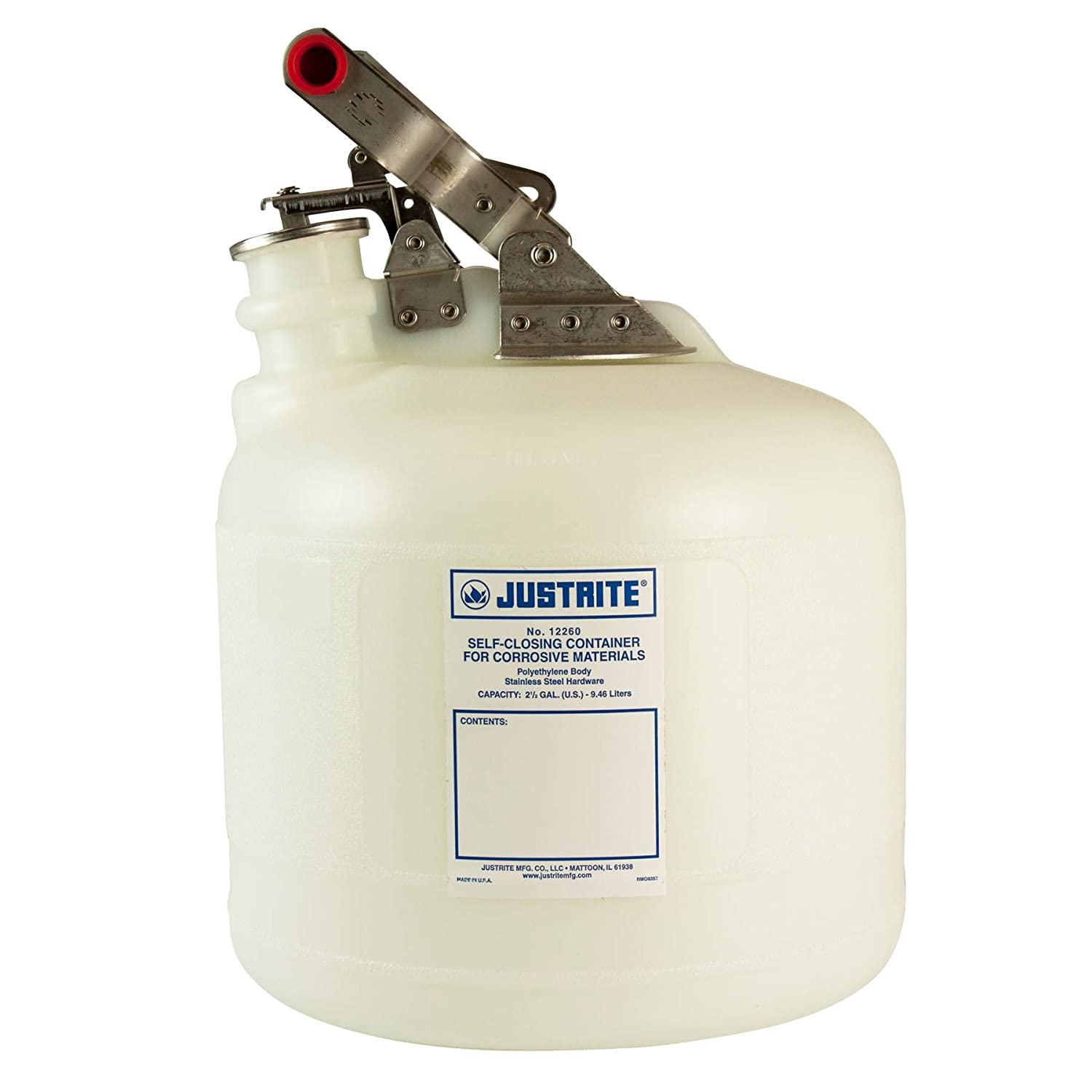 Justrite 12260 Safety Container, Corrosives, 2.5 Gal
