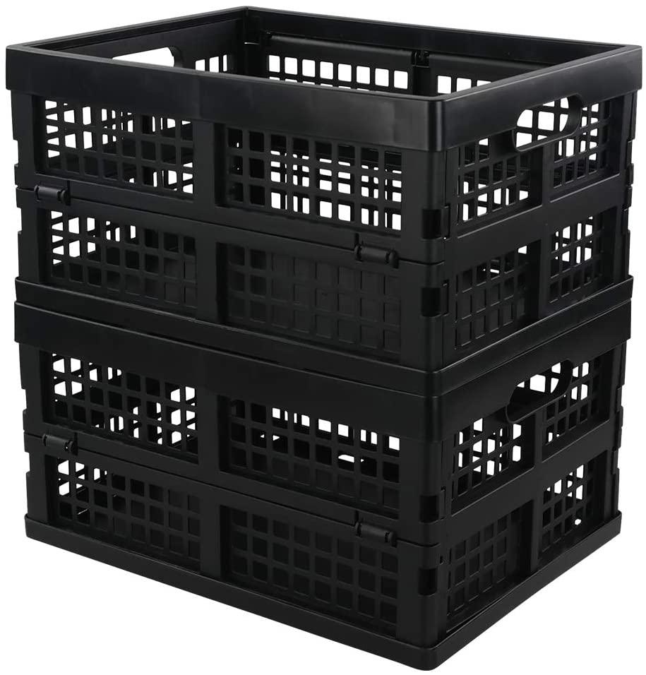 Neadas Black Plastic Folding Storage Flate Crates, 2 Packs