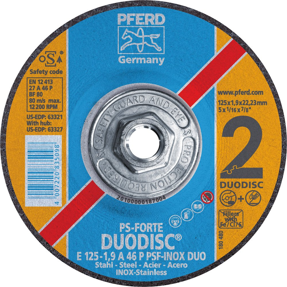 PFERD 63327 Duodisc Combination Cutting/Grinding Wheel, Type 27, Aluminum Oxide A, 5
