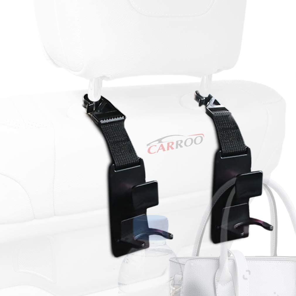 Carroo Headrest Hooks with Bottle Caddy, Keep Your Floor Clean, Your Car Organized, and Your Possessions Secure, 4pcs