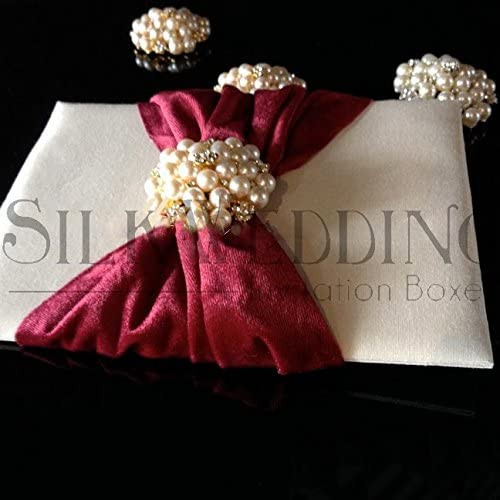 Opulent Silk Invitation Pad Wrapped in Burgundy Velvet Sash with Pearl Brooch