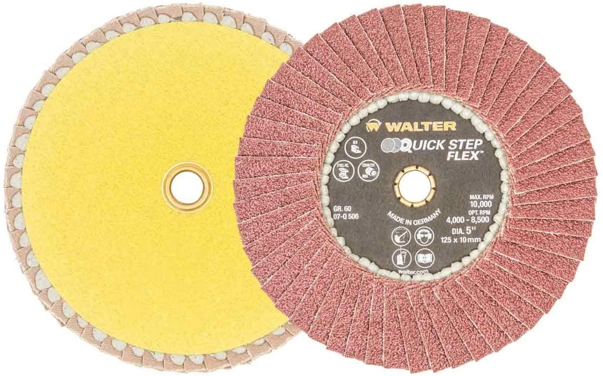 Walter 07Q506 5x7/8 Quick-Step Flex Flexible Flap Disc 60 Grit, 10 pack