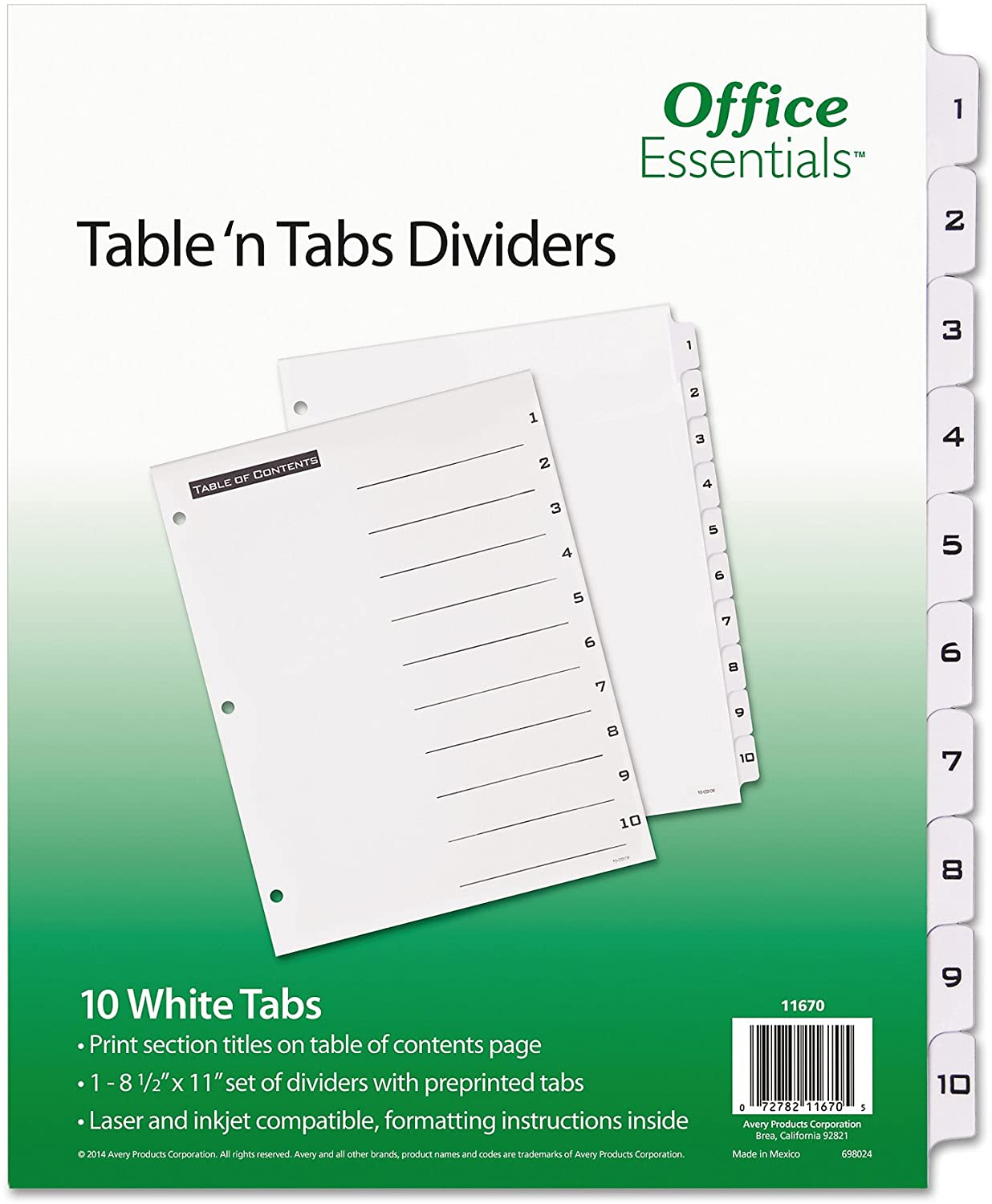 Office Essentials 11670 Table 'n Tabs Dividers, 10-Tab, Letter