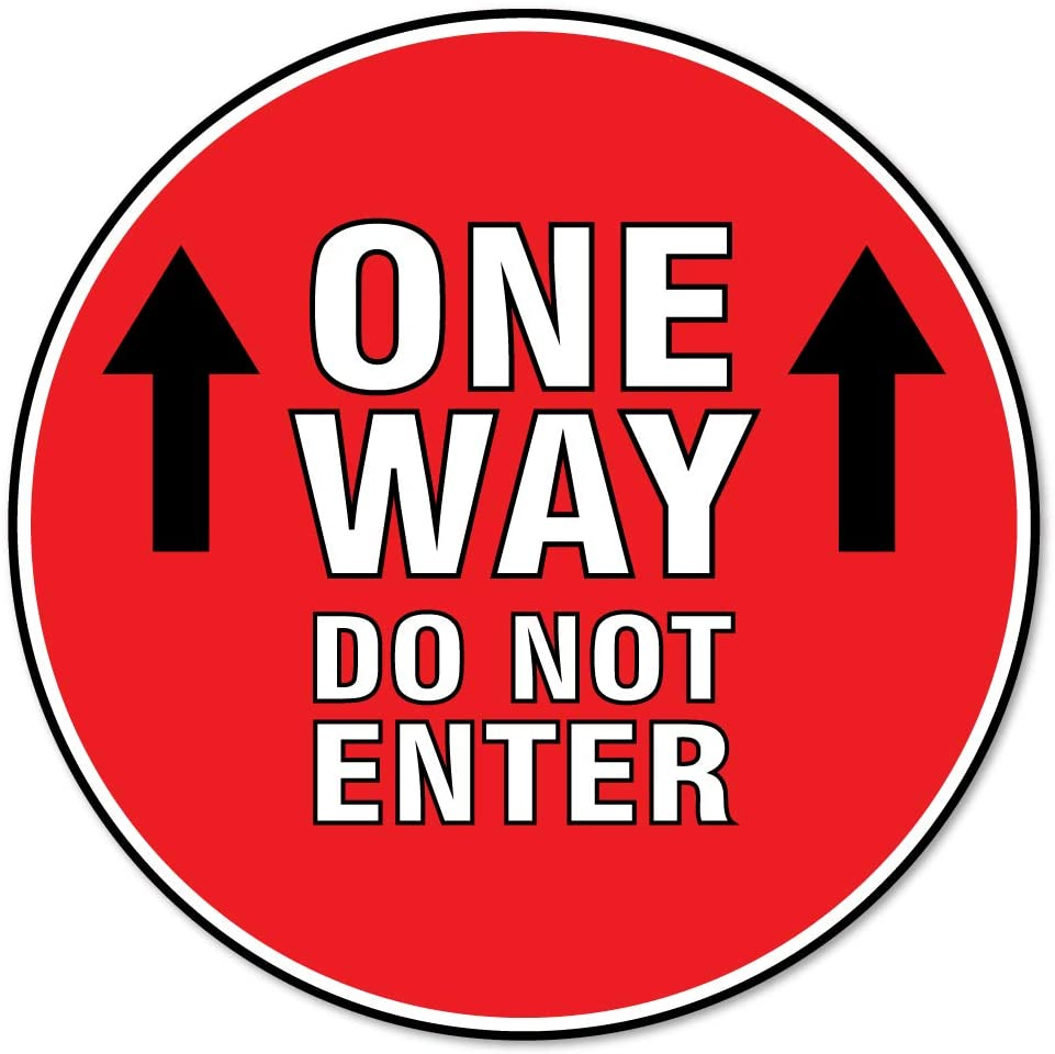 SIgnMission Coronavirus One Way Do Not Enter Non-Slip Floor Graphic 6 Pack of 11