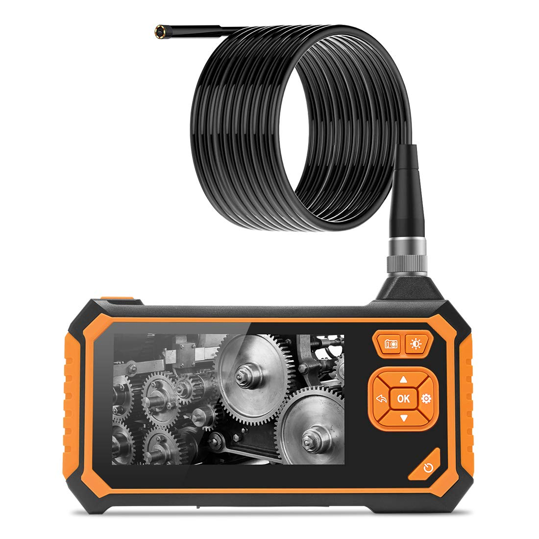 Wisamic Borescope Inspection Camera with Light: 1080P HD Digital Borescope Waterproof Video Snake Indoscope Camera with 1.6-198 inch Focus Distance 4.3inch LCD, 3M/9.8FT