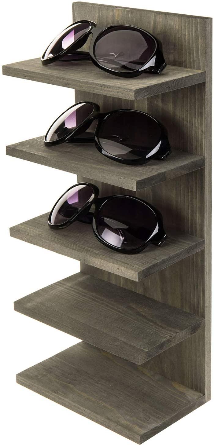 MyGift Vintage Gray Solid Wood Wall Mounted Sunglasses Eyewear Organizer Holder Retail Display Shelf Rack