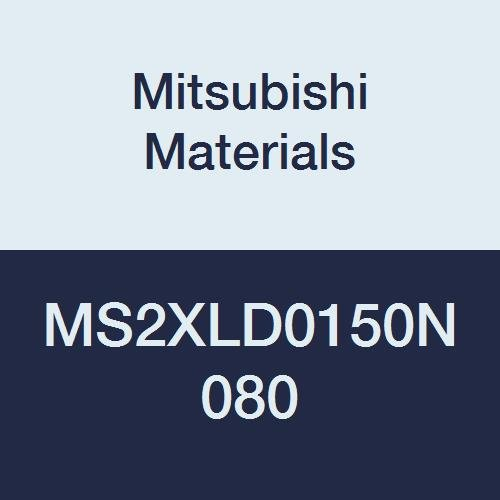 Mitsubishi Materials MS2XLD0150N080 MS2XL Series Carbide Mstar Square Nose End Mill, Short Flute, Long Neck Flute, 2 Flutes, 1.5 mm Cutting Dia, 8 mm Neck Length