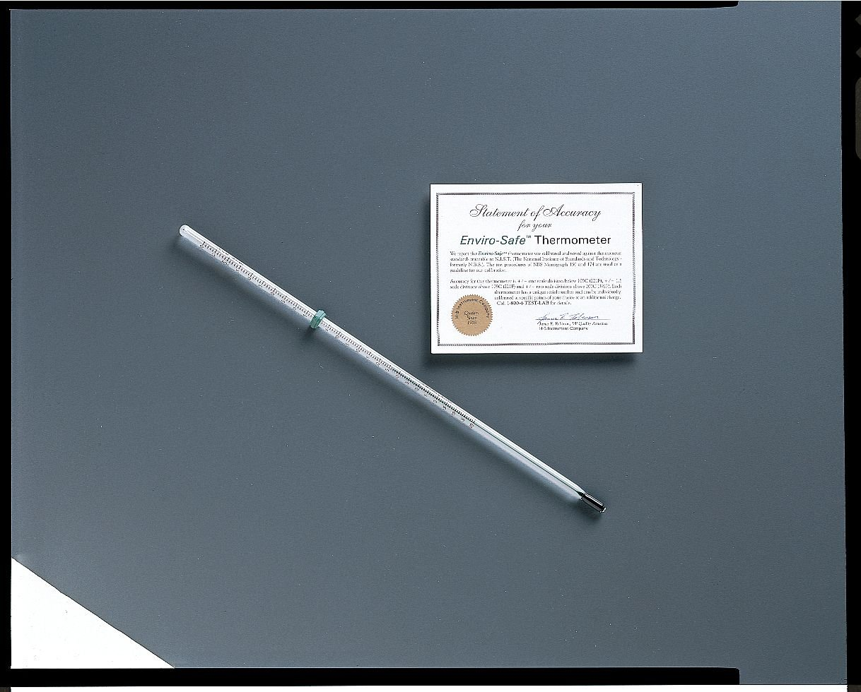 Enviro-Safe Partial Immersion Spirit Thermometer, -20 to 150 Degrees C, 305mm Length