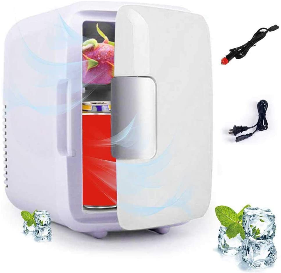 Faxiang Portable Compact Personal Fridge Dual-Use Refrigerator Mini Fridge Electric Cooler & Warmer Shelf Low Noise Mini Refrigerator for Home and Car (4 Liter / 6 Can)