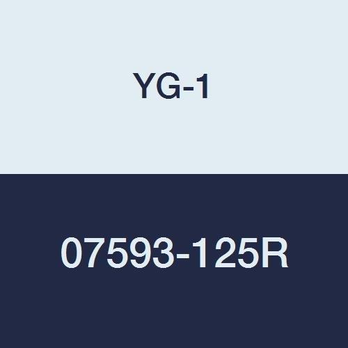 YG-1 07593-125R Carbide Corner Radius End Mill, 4 Flute, Regular Length, Uncoated Finish, 3
