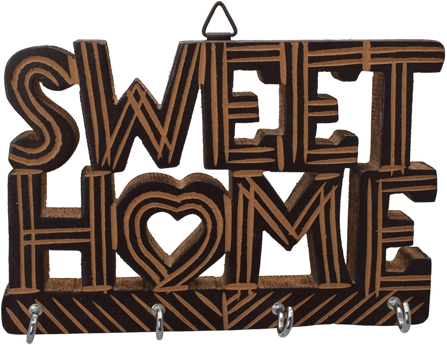 diollo Wooden Sweet Family Wall Mountain Key Holder with 4 Hooks for Home Décor-17x5x12cm,