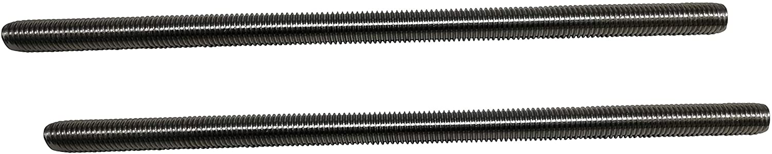 M10 x 250mm Fully Threaded Rod, 304 Stainless Steel, Right Hand Threads, 2 Pack