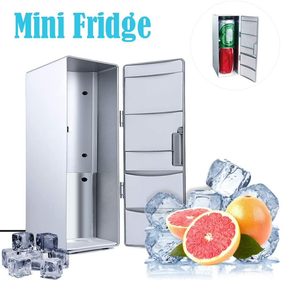 Mini Portable USB Desktop Mini Refrigerator Beverage Cooler Freezer Fridge for Skincare, Breast Milk, Foods, Bedroom and Travel (Silver, 120 x 85 x 250mm)
