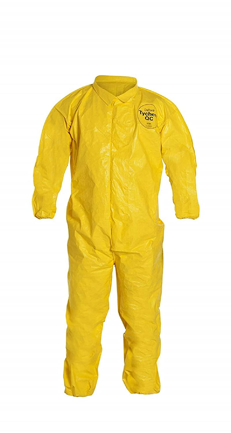 DuPont Tychem 2000 QC125B Disposable Chemical Resistant Coverall with Elastic Cuff and Bound Seams, Yellow XL 1 Pack