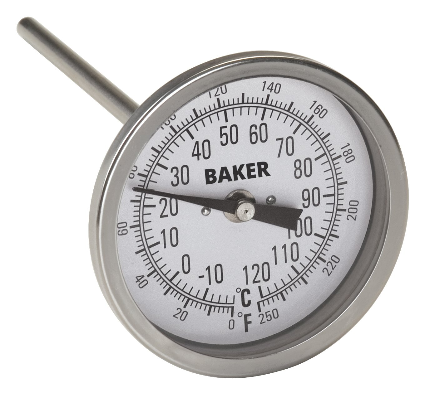 Baker Instruments T300 Series Stainless Steel Bi Metal Thermometer 0 to 250°F (-20 to 120°C), 6
