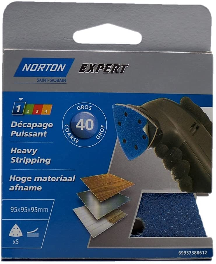 Norton Triangular Sanding Sheets Perforated 6 Holes Self-Gripping Professional Diameter 95 Grit 40 Lot of 5