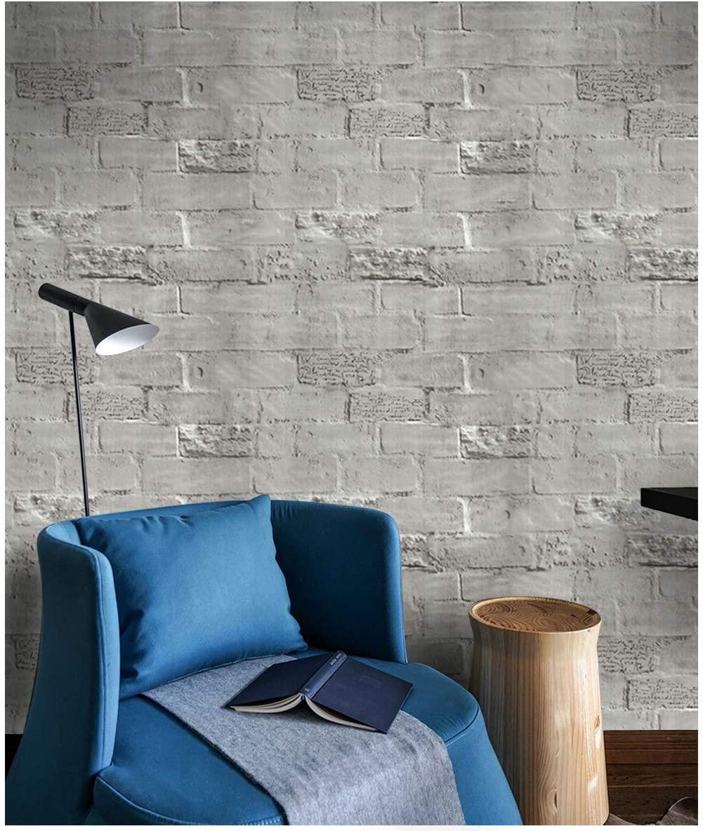 3D Gray Brick Wallpaper Peel and Stick 17.7'' X 196.9'' Self Adhesive Wallpaper for Wall Decor
