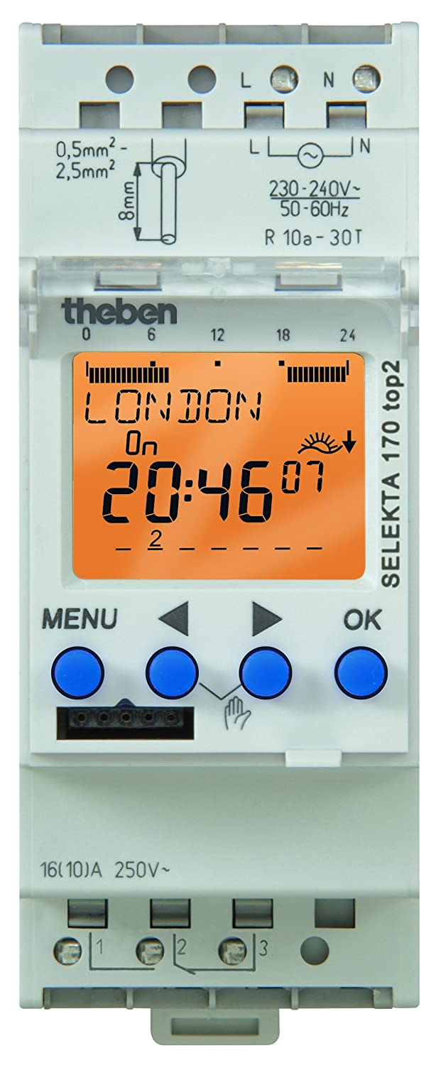 Lumenite SEL-170-TOP-2-120V Theben AC 7 Day/24 Hours/Astronomical Program 1 Channel Din Mounting Digital Time Switch, 56 Memory Locations