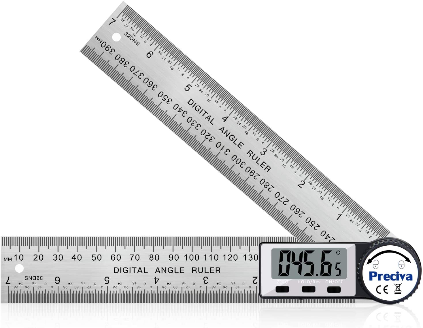 Digital Angle Finder Ruler, Preciva 7.5inch/200mm Digital Protractor Stainless Steel Angle Ruler with Large LCD Display and Zeroing/Locking/Reverse Functions (CR2032 Battery Included)