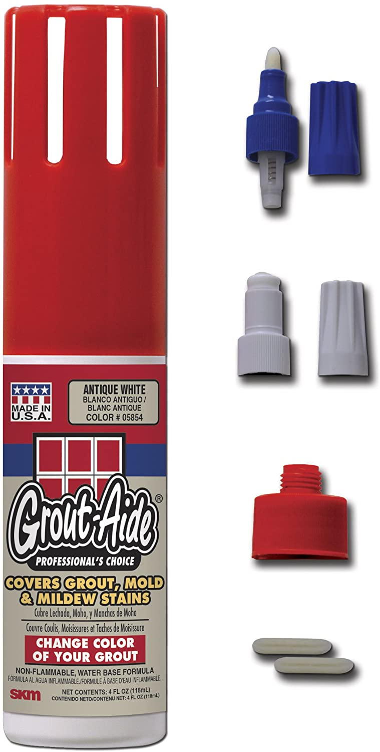 Grout-Aide 4 oz. Contractor's Pack, Antique White (Carded) Two Different Nib Widths to Complete Any Grout Projects