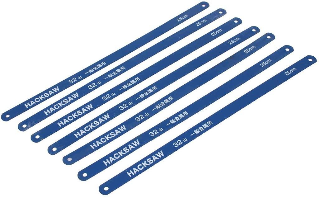 Aexit 6 Pcs Blades 250mm Working Length Carbon Steel Power Hacksaw Blades Blue 12mm Circular Saw Blades x 0.6mm
