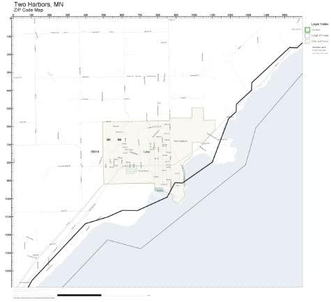 ZIP Code Wall Map of Two Harbors, MN ZIP Code Map Laminated
