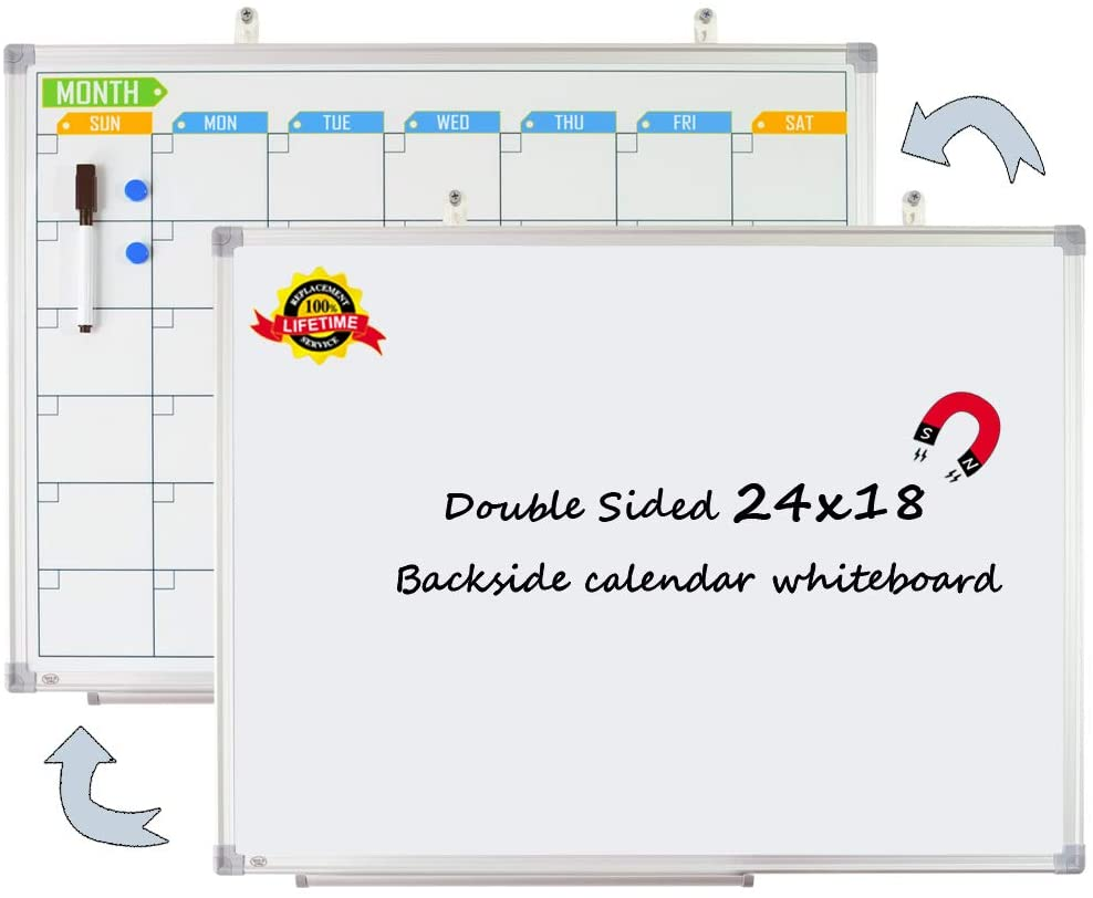 Lockways Double Sided Magnetic White Board, One Side Dry Erase Whiteboard, Another Side Colorful Magnetic Calendar Board 24 x 18 Inch, Framed Monthly Planning Board Ultra-Slim Silver Aluminium Frame