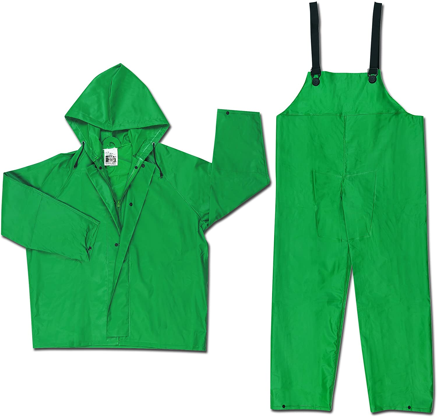 MCR Safety 3882L Dominator PVC/Polyester 2-Piece Rainsuit with Attached Drawstring Hood, Green, Large