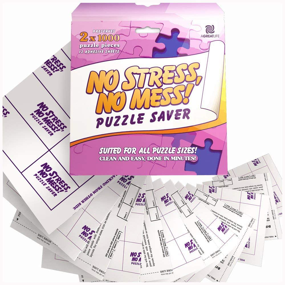 aGreatLife 12 Sheets No Stress, No Mess Puzzle Saver - Puzzle Glue Sheets That Preserve Your Puzzle Masterpieces of Up 2 Sets of 1000 Piece Puzzles for Adults and Kids