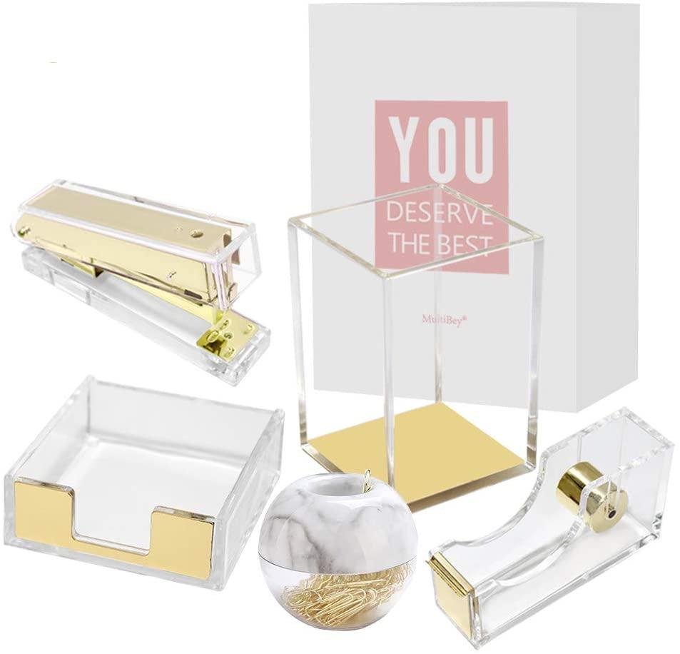 Clear Acrylic Office Supplies Gold Desk Organizer Set Tape Dispenser Stapler Sticky Notes Tray Magnetic Paper Clips Dispenser Pen Pencil Holder for Desktop Accessories Organization (Gold)